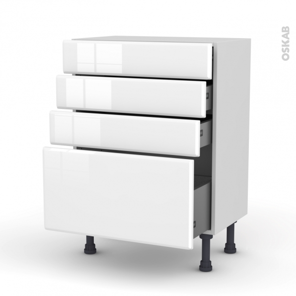 Meuble de cuisine - Bas - IRIS Blanc - 4 tiroirs - L60 x H70 x P37 cm