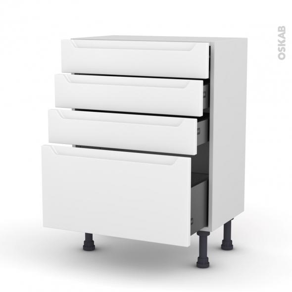 Meuble de cuisine - Bas - PIMA Blanc - 4 tiroirs - L60 x H70 x P37 cm