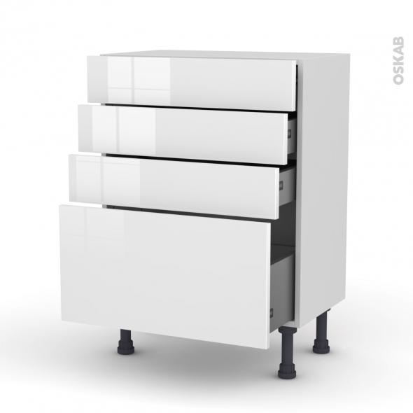 STECIA Blanc - Meuble bas prof.37 - 4 tiroirs - L60xH70xP37