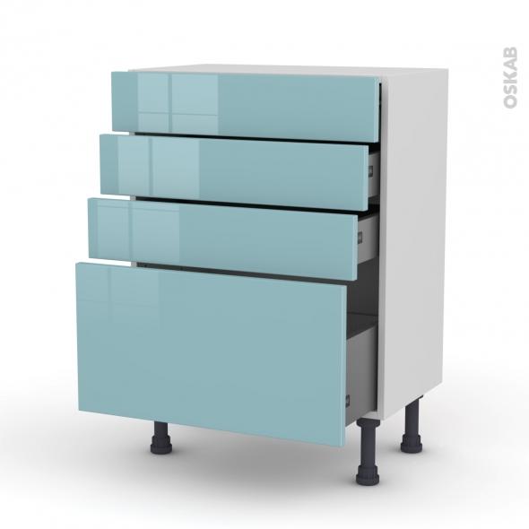 KERIA Bleu - Meuble bas prof.37 - 4 tiroirs - L60xH70xP37
