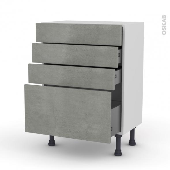Meuble de cuisine - Bas - FAKTO Béton - 4 tiroirs - L60 x H70 x P37 cm