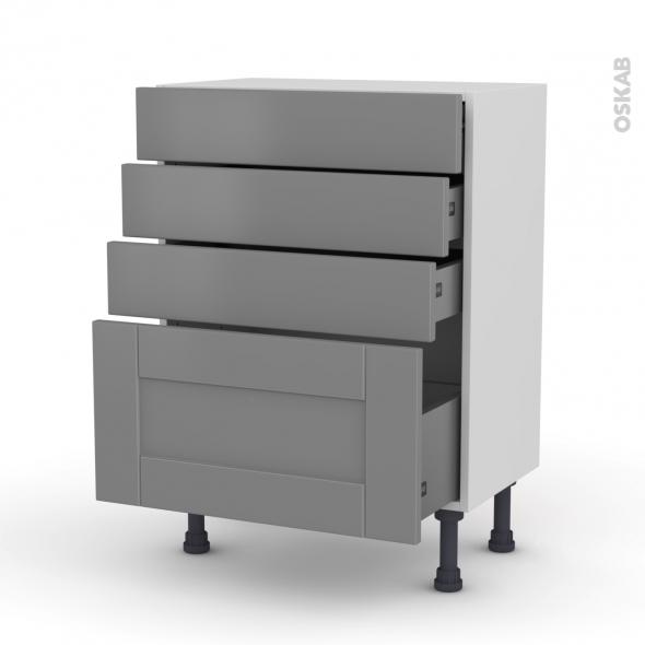 Meuble de cuisine - Bas - FILIPEN Gris - 4 tiroirs - L60 x H70 x P37 cm