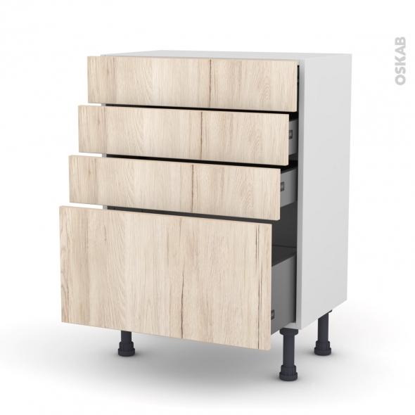 Meuble de cuisine - Bas - IKORO Chêne clair - 4 tiroirs - L60 x H70 x P37 cm