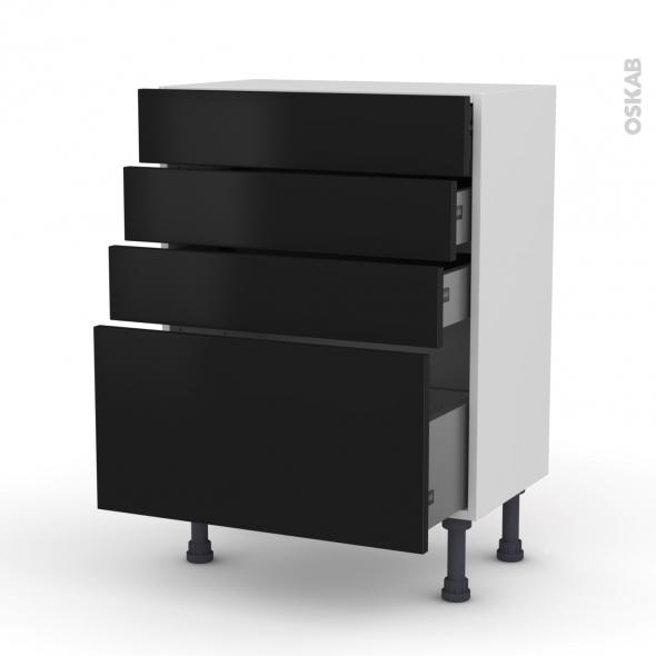 Meuble de cuisine - Bas - GINKO Noir - 4 tiroirs - L60 x H70 x P37 cm