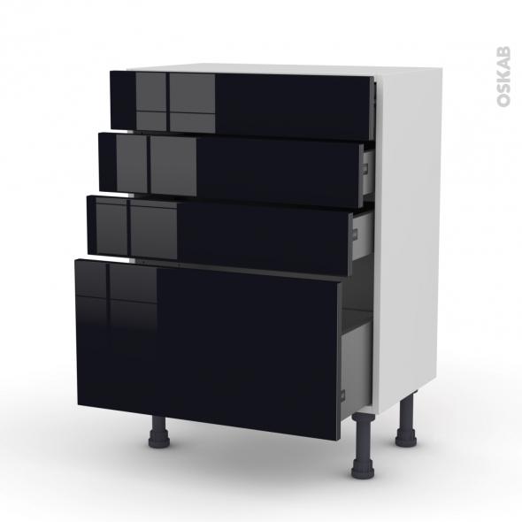Meuble de cuisine - Bas - KERIA Noir - 4 tiroirs - L60 x H70 x P37 cm