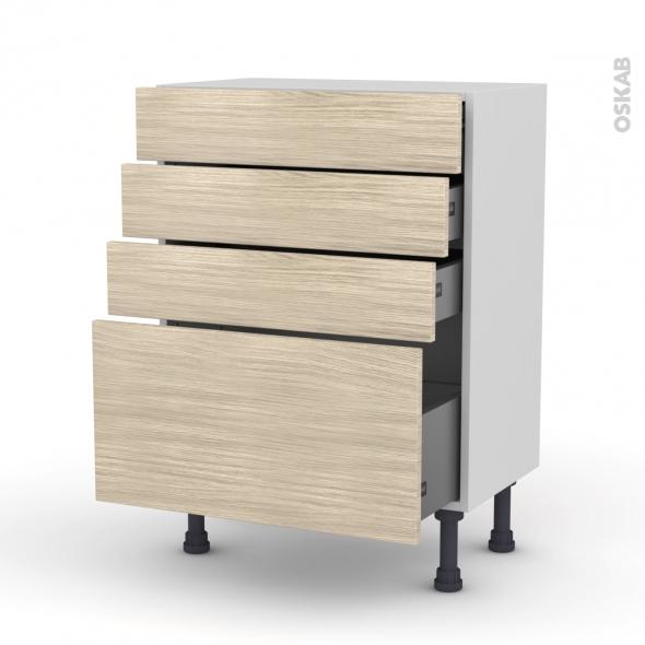 Meuble de cuisine - Bas - STILO Noyer Blanchi - 4 tiroirs - L60 x H70 x P37 cm
