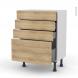 Meuble de cuisine - Bas - HOSTA Chêne naturel - 4 tiroirs - L60 x H70 x P37 cm