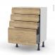 IPOMA Chêne Naturel - Meuble bas prof.37 - 4 tiroirs - L60xH70xP37