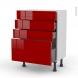 STECIA Rouge - Meuble bas prof.37 - 4 tiroirs - L60xH70xP37