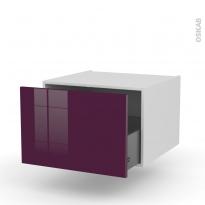 Meuble de cuisine - Bas suspendu - KERIA Aubergine - 1 casserolier - L60 x H41 x P58 cm