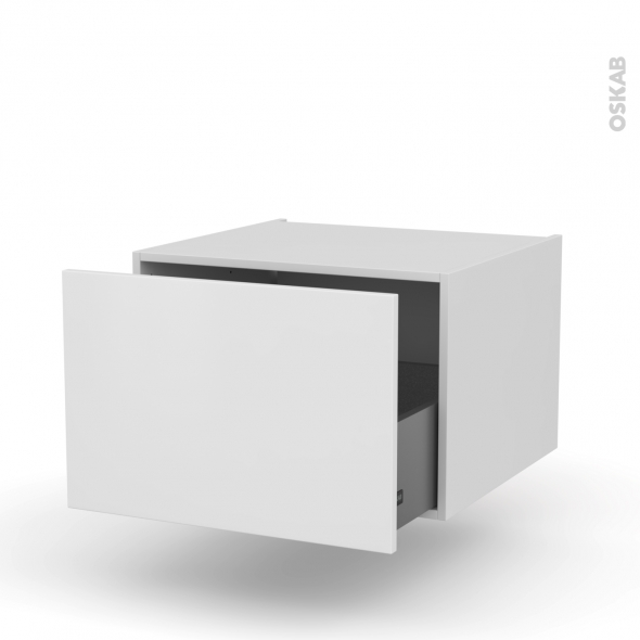 Meuble de cuisine - Bas suspendu - GINKO Blanc - 1 casserolier - L60 x H41 x P58 cm