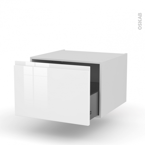 Meuble de cuisine - Bas suspendu - IPOMA Blanc - 1 casserolier - L60 x H41 x P58 cm