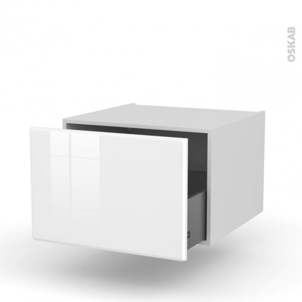 IRIS Blanc - Meuble bas suspendu - 1 casserolier - L60xH41xP58