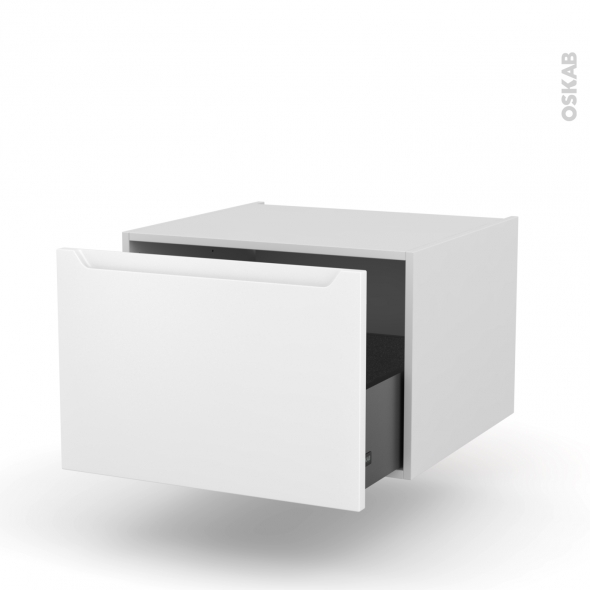 Meuble de cuisine - Bas suspendu - PIMA Blanc - 1 casserolier - L60 x H41 x P58 cm
