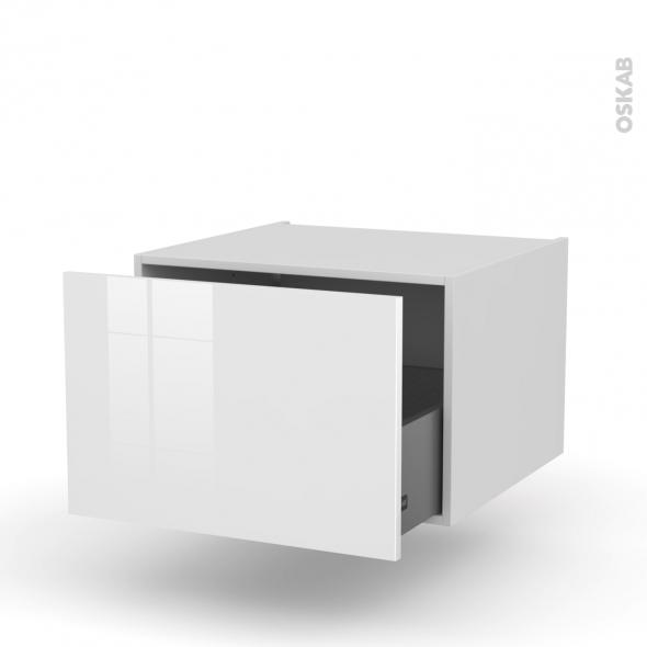 Meuble de cuisine - Bas suspendu - STECIA Blanc - 1 casserolier - L60 x H41 x P58 cm