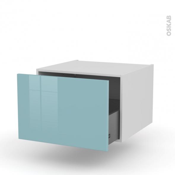 Meuble de cuisine - Bas suspendu - KERIA Bleu - 1 casserolier - L60 x H41 x P58 cm