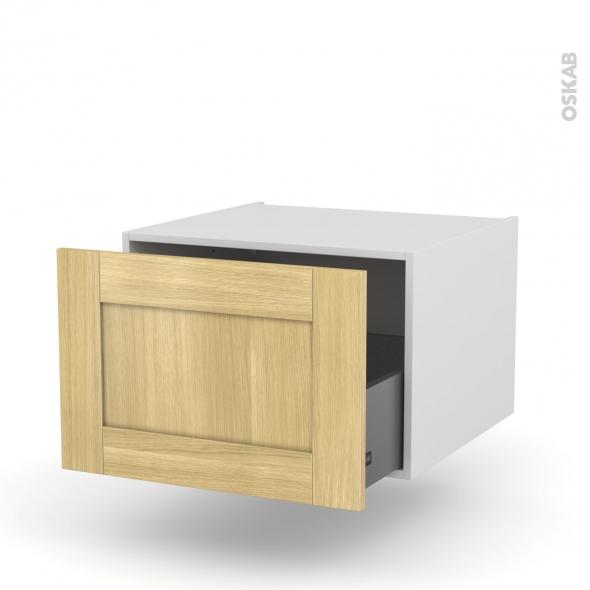 BASILIT Bois Brut - Meuble bas suspendu - 1 casserolier - L60xH41xP58
