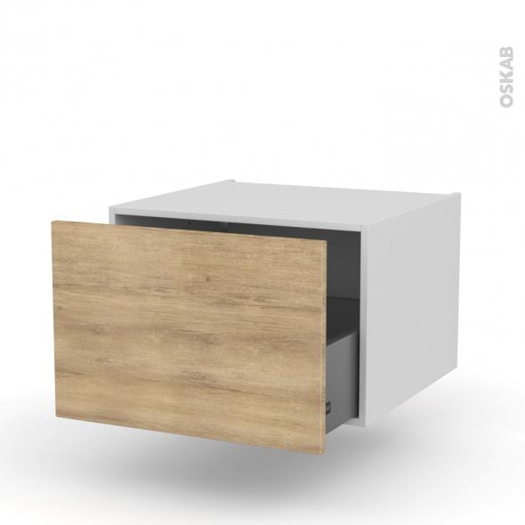Meuble de cuisine - Bas suspendu - HOSTA Chêne naturel - 1 casserolier - L60 x H41 x P58 cm
