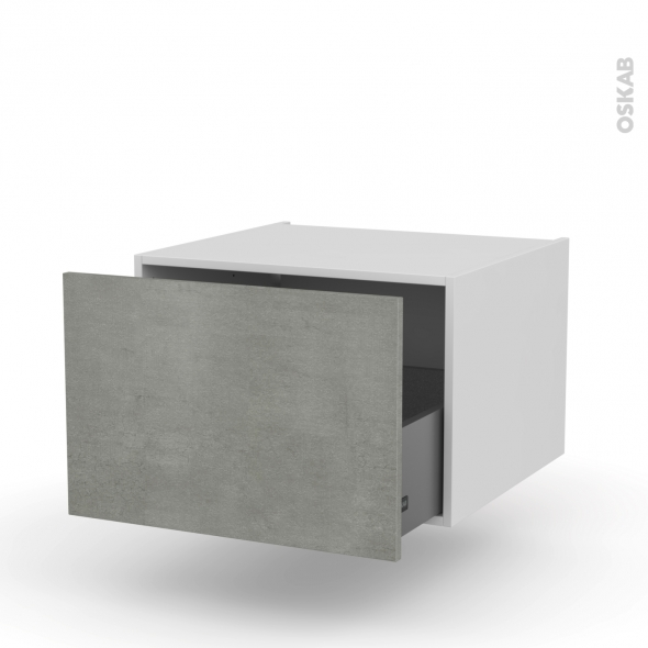 FAKTO Béton - Meuble bas suspendu - 1 casserolier - L60xH41xP58