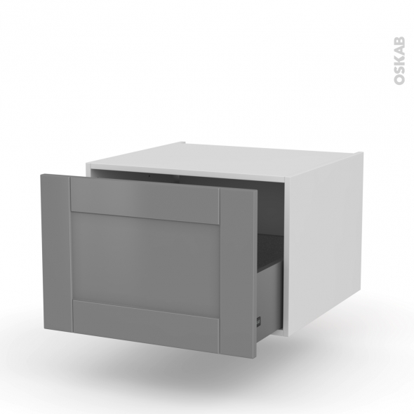 FILIPEN Gris - Meuble bas suspendu - 1 casserolier - L60xH41xP58