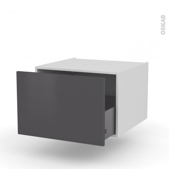 Meuble de cuisine - Bas suspendu - GINKO Gris - 1 casserolier - L60 x H41 x P58 cm