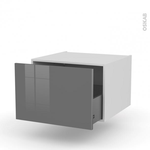 Meuble de cuisine - Bas suspendu - STECIA Gris - 1 casserolier - L60 x H41 x P58 cm