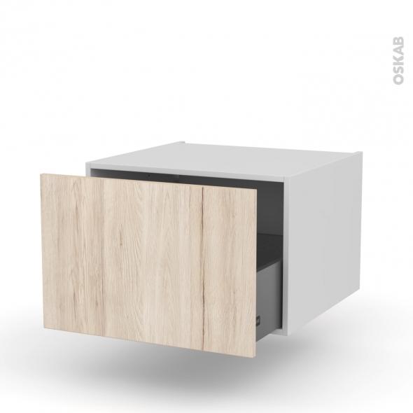 Meuble de cuisine - Bas suspendu - IKORO Chêne clair - 1 casserolier - L60 x H41 x P58 cm