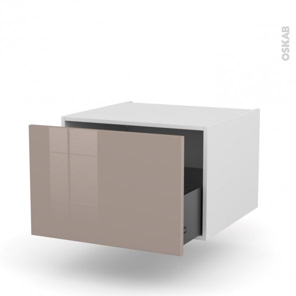 Meuble de cuisine - Bas suspendu - KERIA Moka - 1 casserolier - L60 x H41 x P58 cm