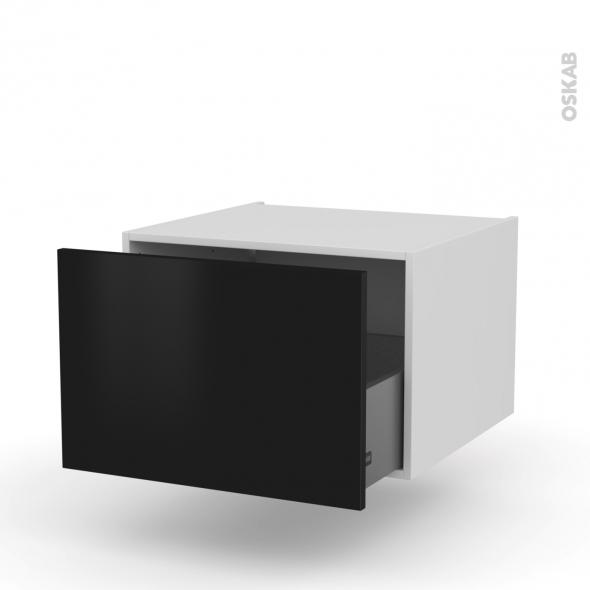 Meuble de cuisine - Bas suspendu - GINKO Noir - 1 casserolier - L60 x H41 x P58 cm