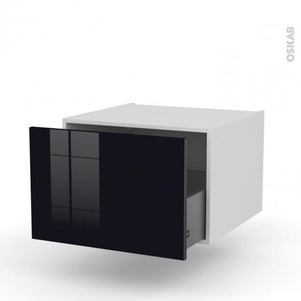 KERIA Noir - Meuble bas suspendu - 1 casserolier - L60xH41xP58
