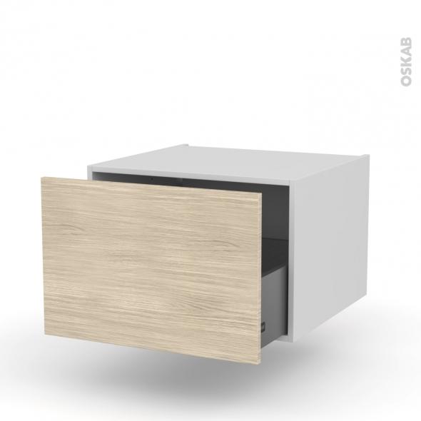 Meuble de cuisine - Bas suspendu - STILO Noyer Blanchi - 1 casserolier - L60 x H41 x P58 cm