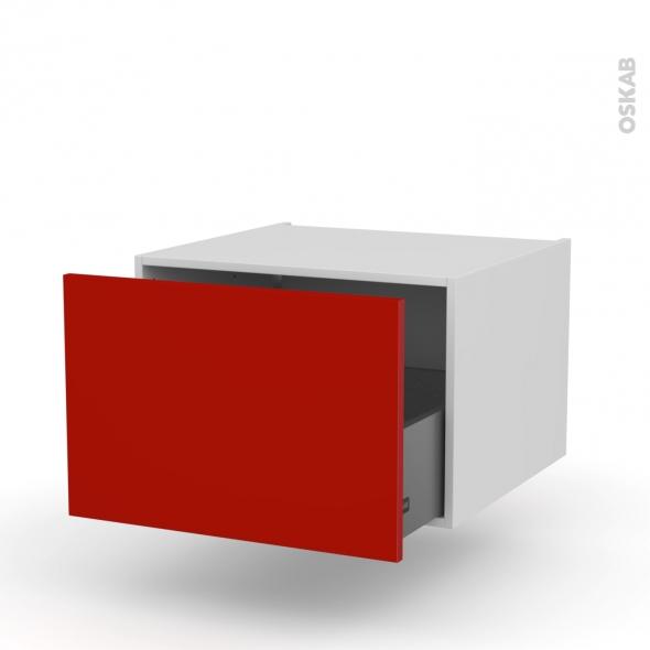GINKO Rouge - Meuble bas suspendu - 1 casserolier - L60xH41xP58