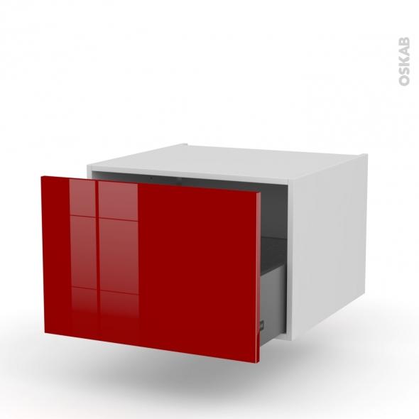 Meuble de cuisine - Bas suspendu - STECIA Rouge - 1 casserolier - L60 x H41 x P58 cm