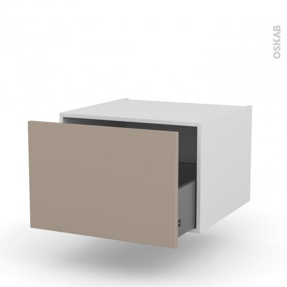 Meuble de cuisine - Bas suspendu - GINKO Taupe - 1 casserolier - L60 x H41 x P58 cm