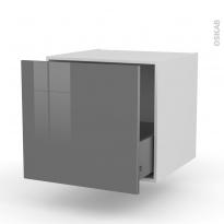 Meuble de cuisine - Bas suspendu - STECIA Gris - 1 casserolier - L60 x H57 x P58 cm