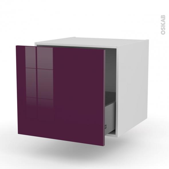 Meuble de cuisine - Bas suspendu - KERIA Aubergine - 1 casserolier - L60 x H57 x P58 cm