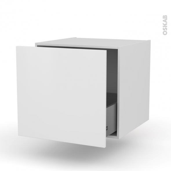 Meuble de cuisine - Bas suspendu - GINKO Blanc - 1 casserolier - L60 x H57 x P58 cm