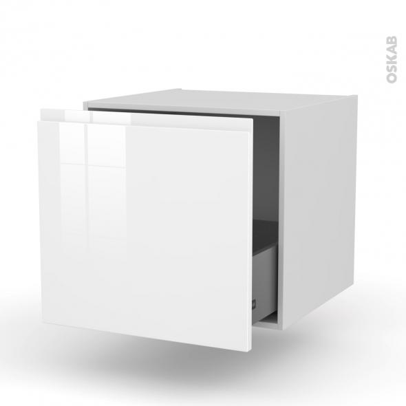 Meuble de cuisine - Bas suspendu - IPOMA Blanc - 1 casserolier - L60 x H57 x P58 cm