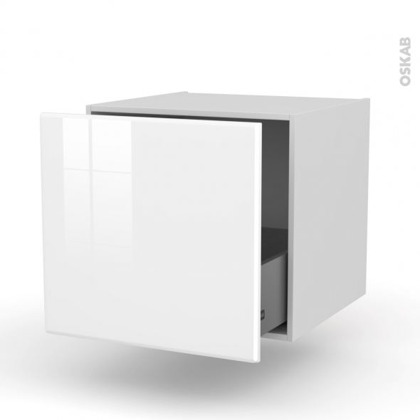 Meuble de cuisine - Bas suspendu - IRIS Blanc - 1 casserolier - L60 x H57 x P58 cm