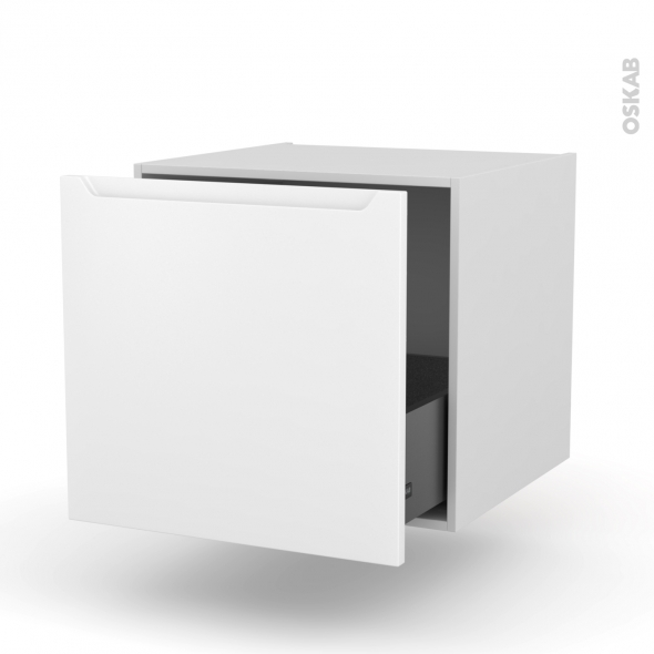 PIMA Blanc - Meuble bas suspendu - 1 casserolier - L60xH57xP58