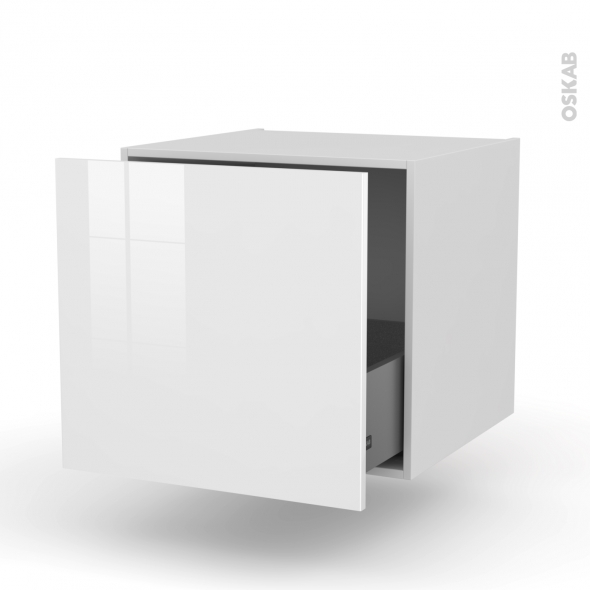 STECIA Blanc - Meuble bas suspendu - 1 casserolier - L60xH57xP58