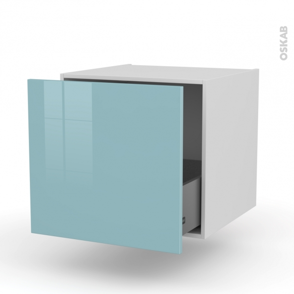 Meuble de cuisine - Bas suspendu - KERIA Bleu - 1 casserolier - L60 x H57 x P58 cm