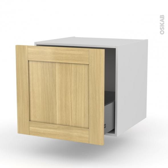 BASILIT Bois Brut - Meuble bas suspendu - 1 casserolier - L60xH57xP58