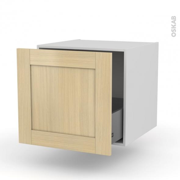 BASILIT Bois Vernis - Meuble bas suspendu - 1 casserolier - L60xH57xP58