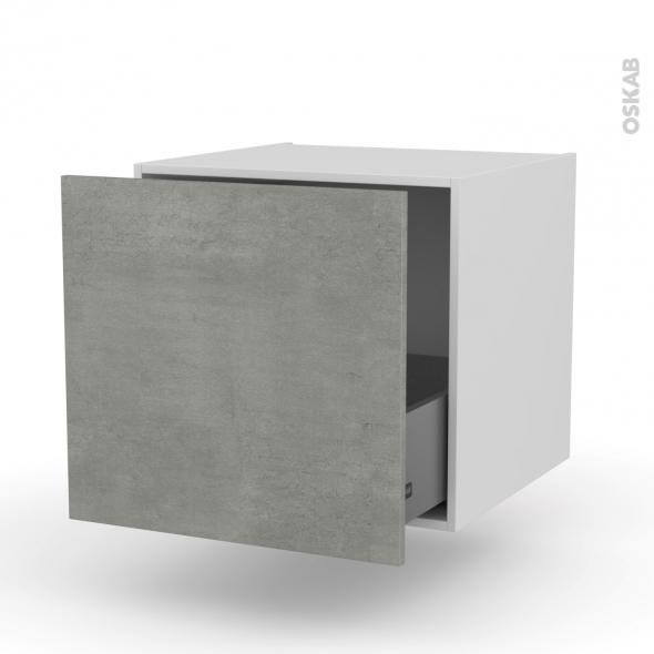 FAKTO Béton - Meuble bas suspendu - 1 casserolier - L60xH57xP58