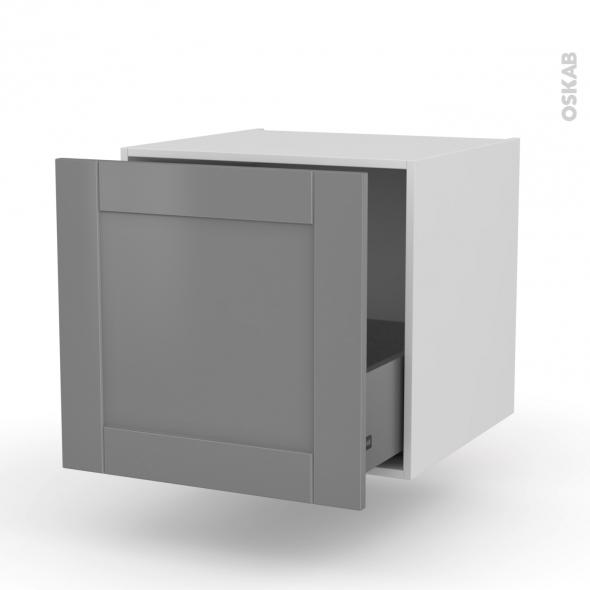 Meuble de cuisine - Bas suspendu - FILIPEN Gris - 1 casserolier - L60 x H57 x P58 cm