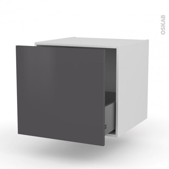 Meuble de cuisine - Bas suspendu - GINKO Gris - 1 casserolier - L60 x H57 x P58 cm