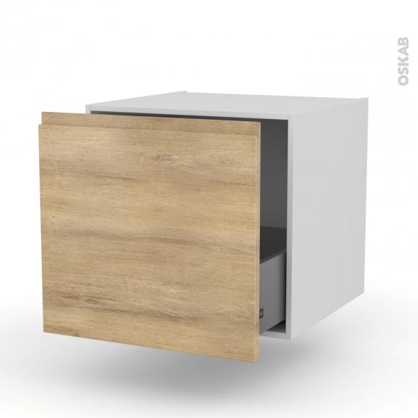 Meuble de cuisine - Bas suspendu - IPOMA Chêne naturel - 1 casserolier - L60 x H57 x P58 cm