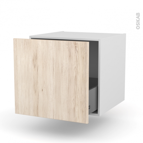 Meuble de cuisine - Bas suspendu - IKORO Chêne clair - 1 casserolier - L60 x H57 x P58 cm