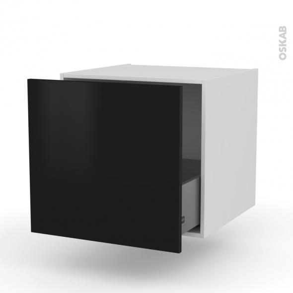 Meuble de cuisine - Bas suspendu - GINKO Noir - 1 casserolier - L60 x H57 x P58 cm